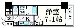JR東海道・山陽本線 三ノ宮駅 徒歩8分の賃貸マンション 2階1Kの間取り