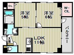 大阪府堺市堺区戎之町西1丁の賃貸マンションの間取り