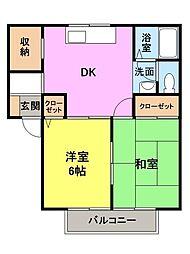 群馬県高崎市飯塚町の賃貸アパートの間取り