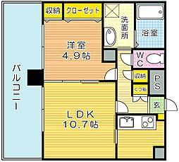 フェリシエ三萩野[8階]の間取り
