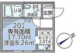 GATE LAGOON戸塚町新築アパート[2階]の間取り
