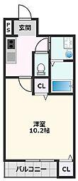 フジパレス吹田金田公園 2階1Kの間取り
