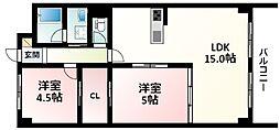 北大阪急行電鉄 緑地公園駅 徒歩1分の賃貸マンション 1階2LDKの間取り