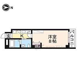 フラッティK&S千本寺之内 5階1Kの間取り