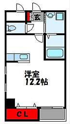 JR鹿児島本線 古賀駅 徒歩5分の賃貸マンション 3階ワンルームの間取り