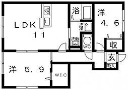 Woodlark桃山台(ウッドラーク桃山台)[A101号室号室]の間取り