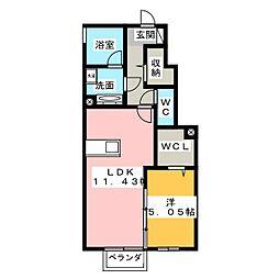 D-room杏[1階]の間取り