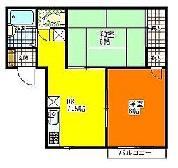 埼玉県蓮田市東6丁目の賃貸アパートの間取り