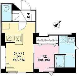 BESUMA月島 ベスマツキシマ 1階1DKの間取り