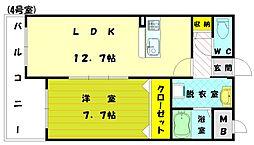福岡県古賀市今の庄3の賃貸マンションの間取り