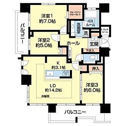クリオ円山鳥居前 3階3LDKの間取り