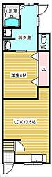 喜志新家1丁目貸家[1階]の間取り