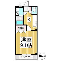 クレセント・MIU B棟 2階1Kの間取り