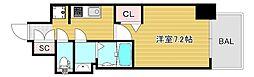 プレサンス大阪ドームシティクロスティ 15階1Kの間取り