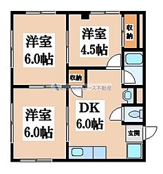 大阪府大阪市中央区高津2丁目の賃貸アパートの間取り