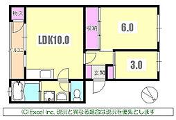 東京都八王子市明神町1丁目の賃貸マンションの間取り