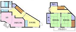 南海高野線 北野田駅 徒歩10分の賃貸一戸建て 1階4DKの間取り