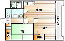 ベルガ三萩野[8階]の間取り