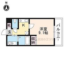 京福電気鉄道嵐山本線 帷子ノ辻駅 徒歩5分の賃貸マンション 1階1Kの間取り