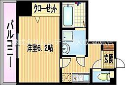 京阪本線 関目駅 徒歩6分の賃貸マンション 4階1Kの間取り
