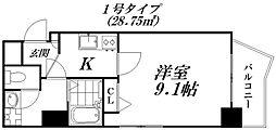 Osaka Metro谷町線 守口駅 徒歩5分の賃貸マンション 2階1Kの間取り