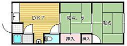 大阪府茨木市沢良宜浜2丁目の賃貸アパートの間取り