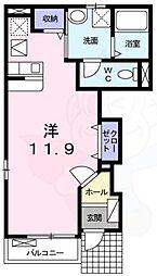 ロイヤルアイフティ2 1階ワンルームの間取り