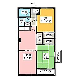 青柑レジデンス[4階]の間取り