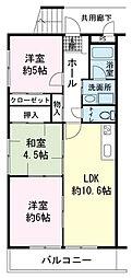 静岡県三島市加茂の賃貸アパートの間取り