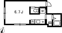 プロト西小山 2階1Kの間取り