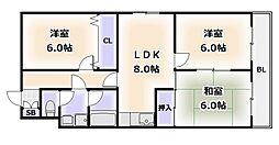 大阪府大阪市浪速区敷津西1丁目の賃貸マンションの間取り