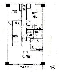 ベルドゥムール志津駅前[4階]の間取り