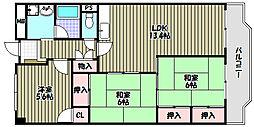 コスモハイツ光明池 A棟[5階]の間取り