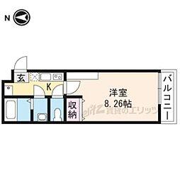 京都市営烏丸線 今出川駅 徒歩15分の賃貸マンション 2階1Kの間取り