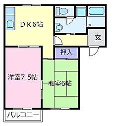 ロゼハイム 2階2DKの間取り