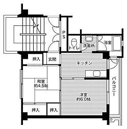 ビレッジハウス鳥居本2号棟 3階2Kの間取り