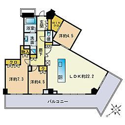 ザ・パークハウス福岡タワーズEAST 8階3LDKの間取り