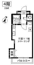 山内ビル 4階ワンルームの間取り