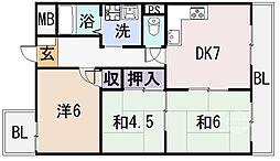 ラ・フォーレ八尾[5階]の間取り