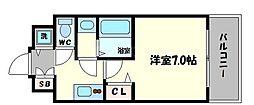 フォーリアライズ阿波座ウエスト 14階1Kの間取り