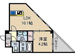 Satsuma-1st 3階1DKの間取り