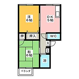 プレジール三日市 B棟[2階]の間取り