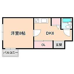 大阪府豊中市箕輪2丁目の賃貸マンションの間取り