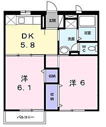 コ−トアカサカ[2階]の間取り