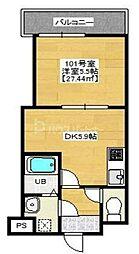 PREFERRED KASHIWA 1階1DKの間取り