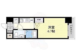 アドバンス新大阪ラシュレ 13階1Kの間取り