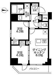 JR総武線 錦糸町駅 徒歩12分の賃貸マンション 4階2DKの間取り