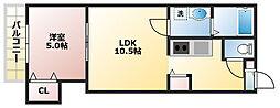 プラウドN19 4階1LDKの間取り
