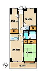 第3エスケービル[2階]の間取り