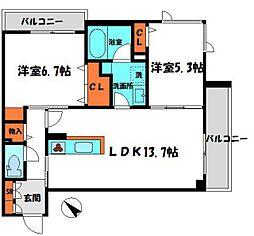 京阪本線 土居駅 徒歩3分の賃貸マンション 2階2LDKの間取り